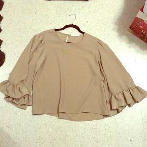 Warm Taupe Unique Blouse